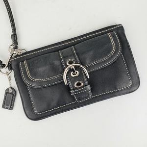 Coach Black Leather Wristlet Wallet Pouch